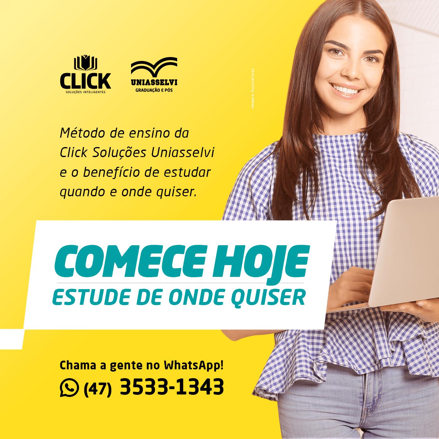 Método de ensino da Click/Uniasselvi e o benefício de estudar quando e onde quiser.
